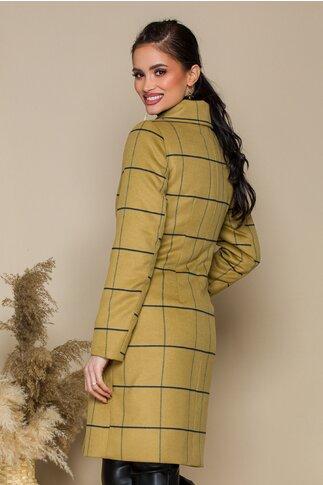 Palton Moze camel clasic cu dungi