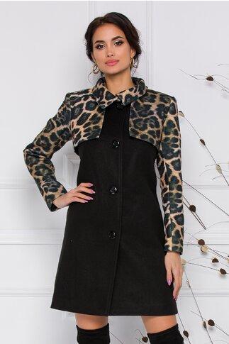 Palton Dora  Moze negru cu animal print
