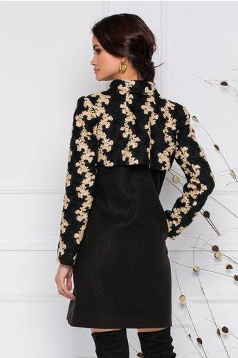 Palton Moze negru cu broderie bej