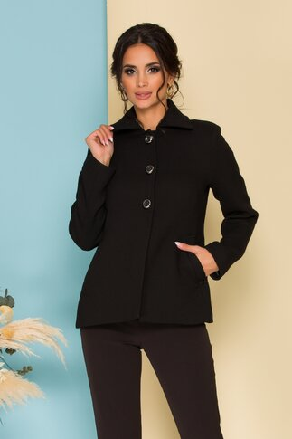 Palton Moze scurt negru cu nasturi stilysh