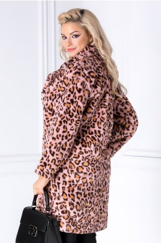 Palton roz cu animal print din blana ecologica