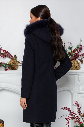 Palton Yolanda bleumarin cu gluga detasabila