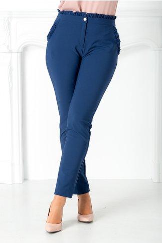 Pantalon bleumarin cu volanas in talie si la buzunare