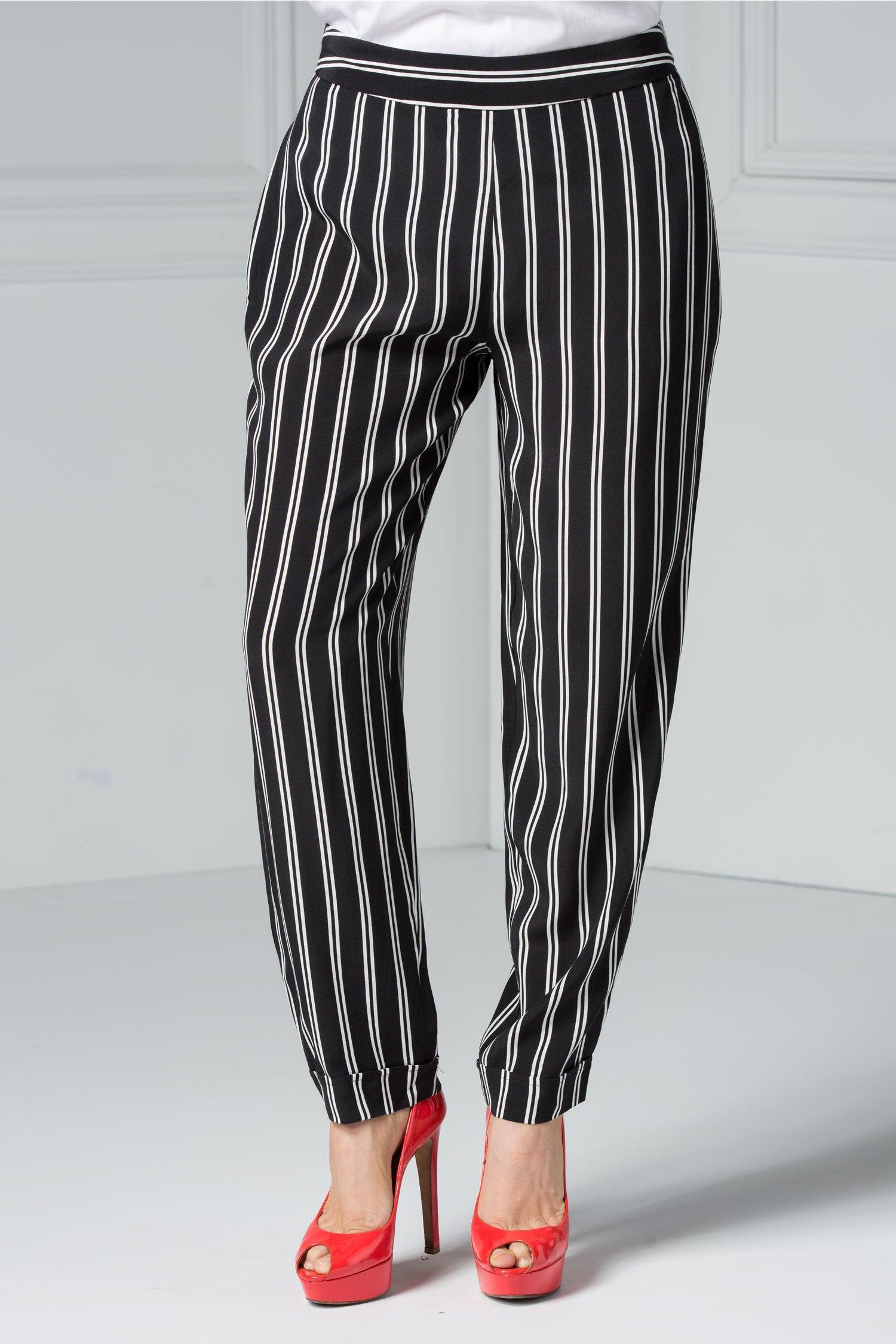 Pantalon Brise Kira negru cu dungi albe office eleganti.