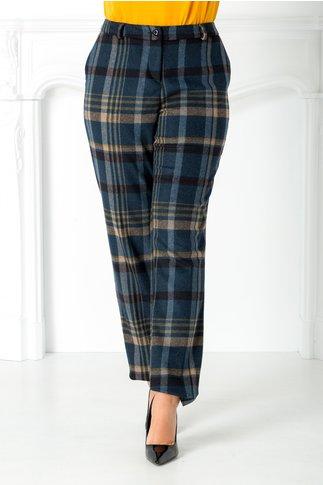 Pantalon Talida bleumarin cu carouri