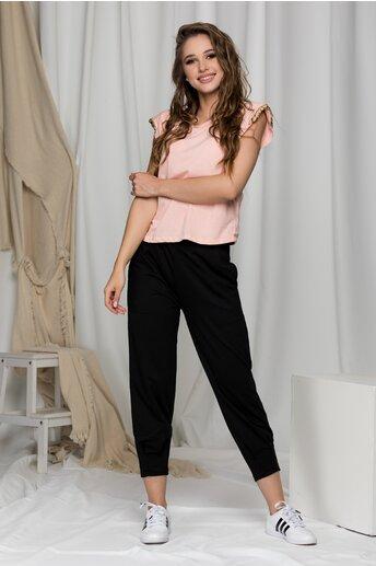 Pantaloni Abby negri cu talie elastica si pliuri la baza