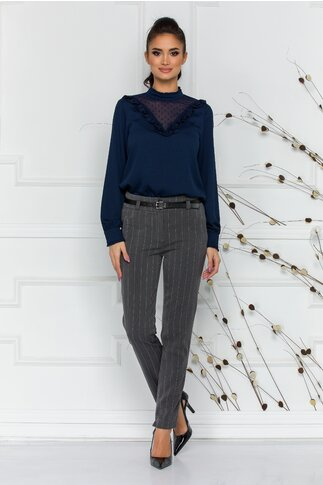 Pantaloni Ady office gri cu dungi discrete