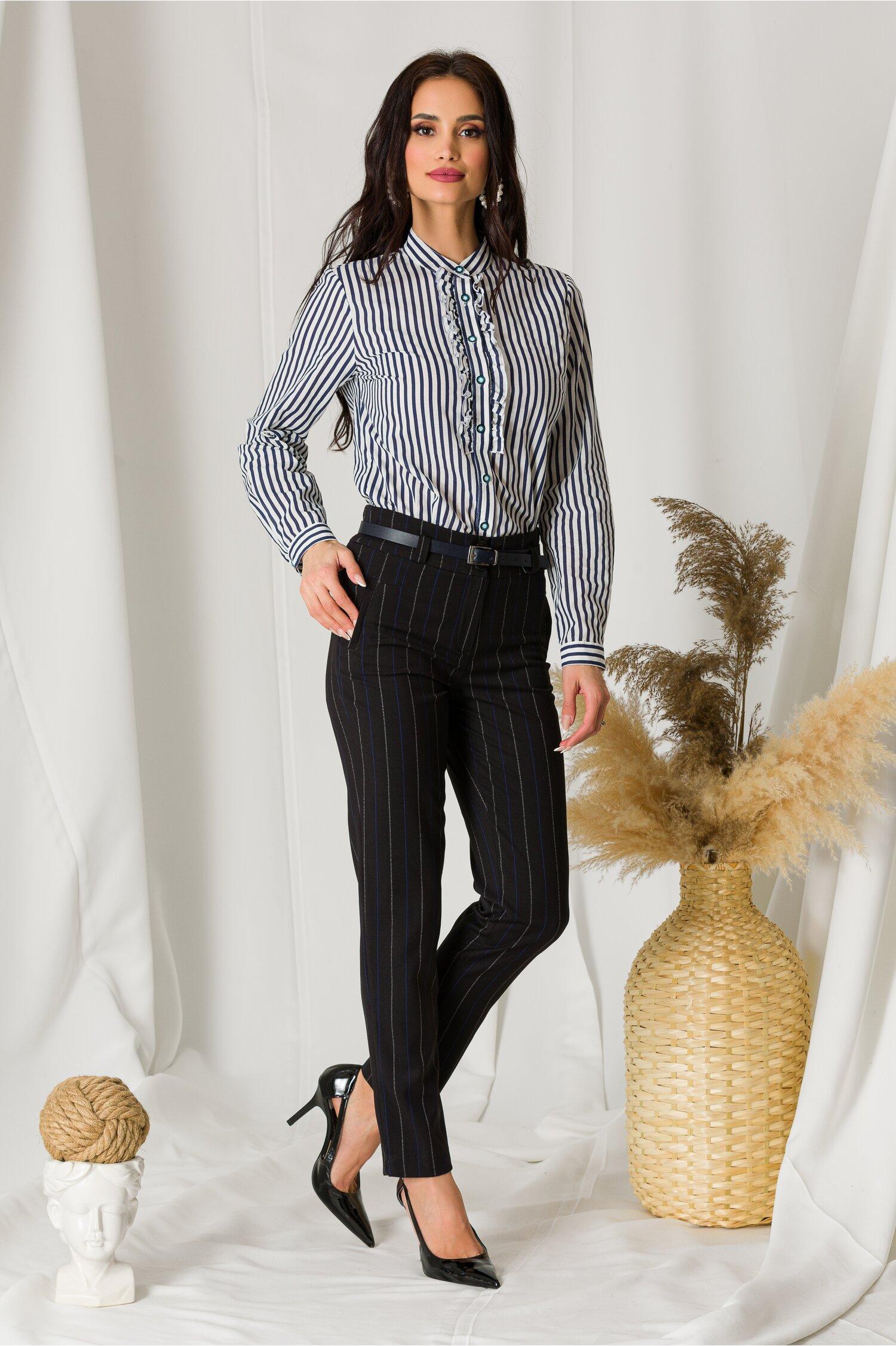 Pantaloni Ady office negri cu dungi