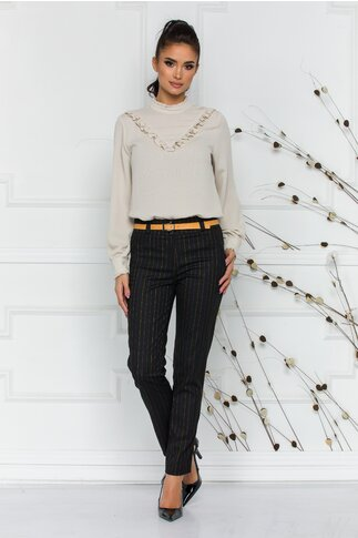 Pantaloni Ady office negri cu dungi discrete