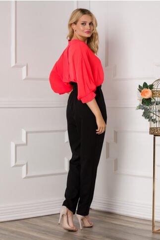 Pantaloni Alia negri cu incretitura la talie