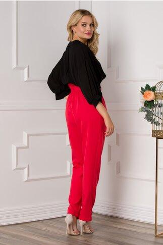 Pantaloni Alia rosii cu incretitura la talie