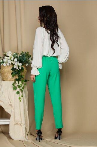 Pantaloni Alia verzi cu incretitura la talie