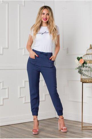 Pantaloni Alice lejeri bleumarin