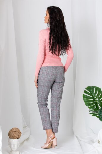 Pantaloni Alison gri cu carouri rosii