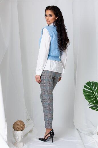 Pantaloni Alison gri cu carouri turcoaz