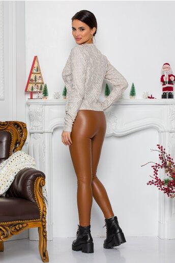 Pantaloni Arabella maro din piele ecologica