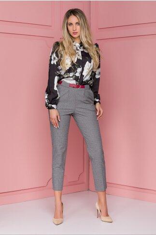 Pantaloni Aria gri cu patratele roz
