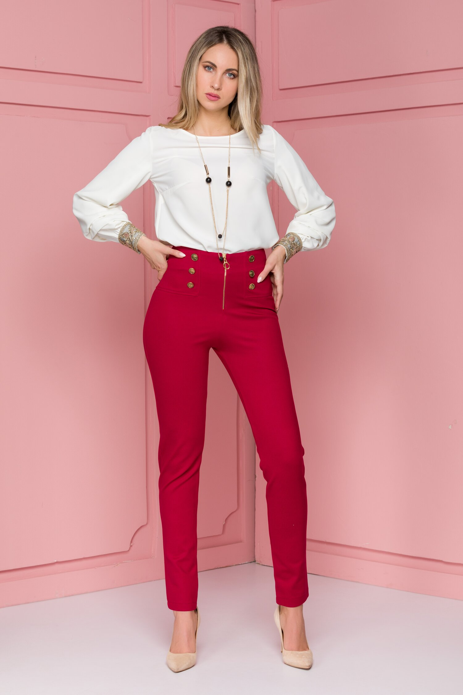 Pantaloni Bella bordo cu nasturi aurii imagine
