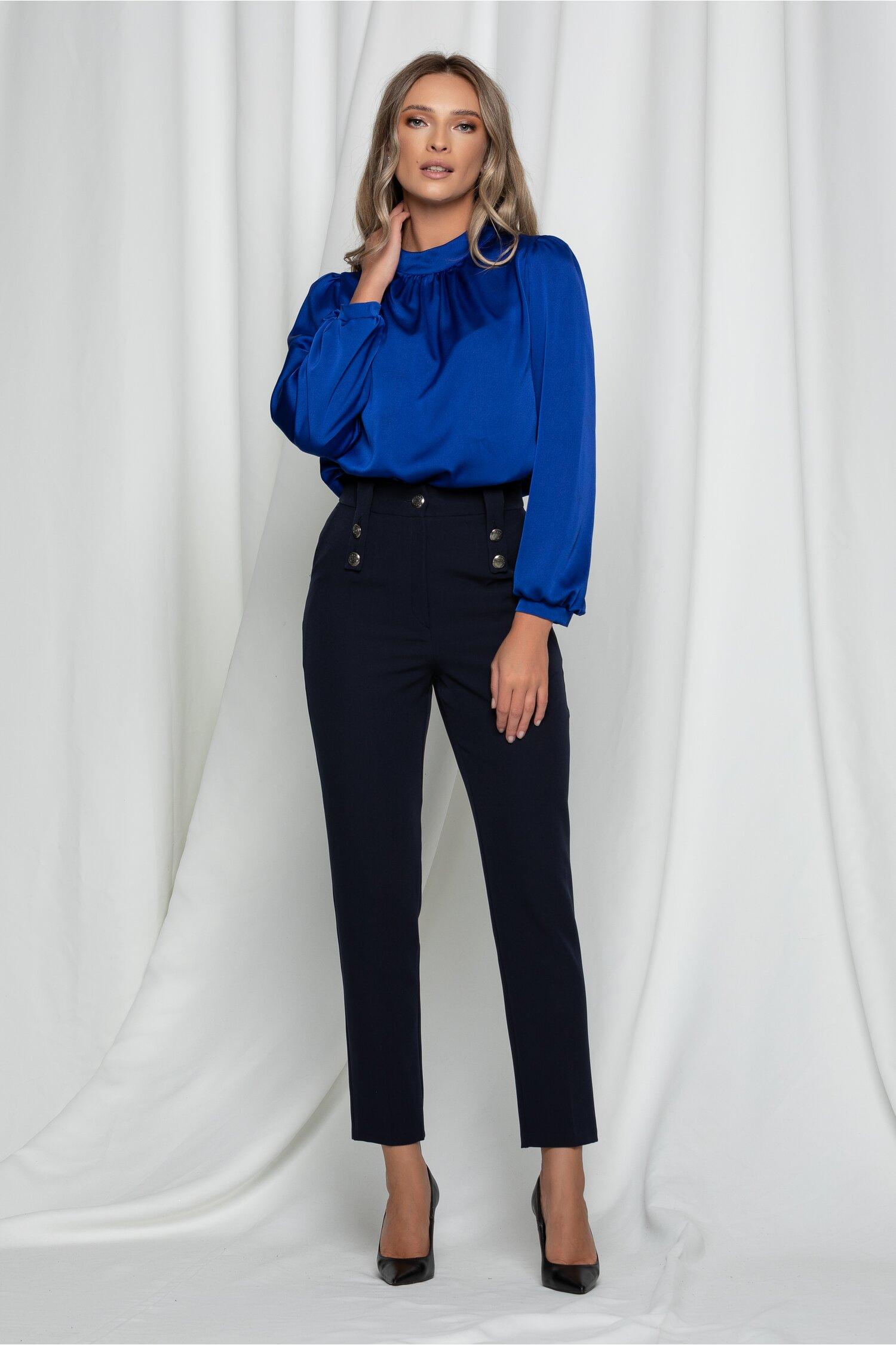 Pantaloni Moze bleumarin cu nasturi decorativi