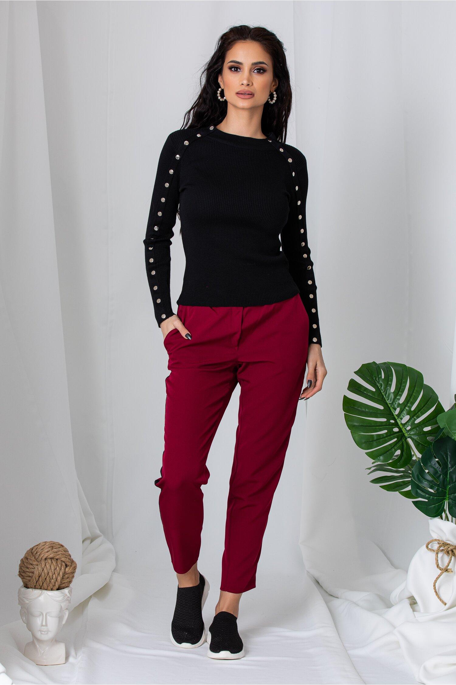 Pantaloni bordo cu elastic in talie si lampas negru din catifea
