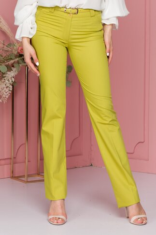 Pantaloni Candy verde lime cu curea in talie