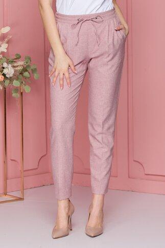 Pantaloni casual roz prafuit cu snur in talie