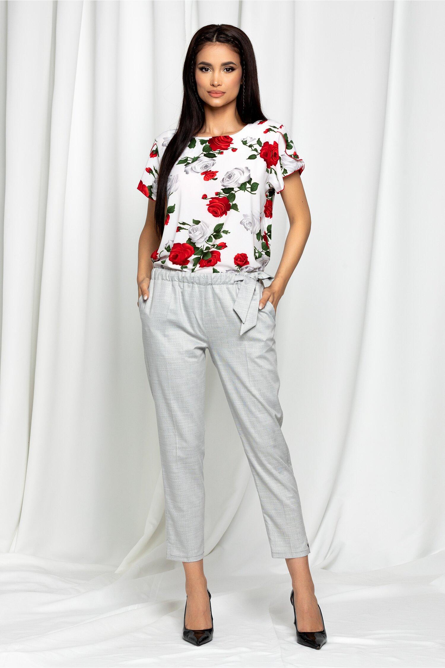Pantaloni Celine gri cu buzunare si cordon in talie