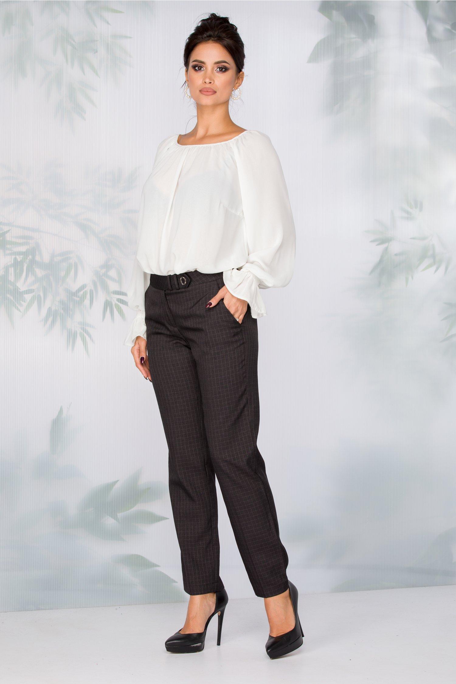 Pantaloni Cleopatra negri cu imprimeu discret in carouri