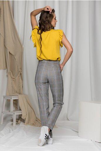 Pantaloni Crina in carouri si dungi galben