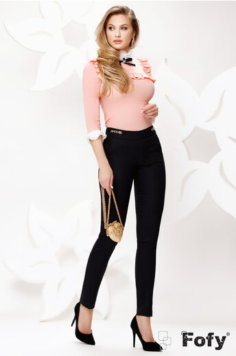 Pantaloni dama Fofy negri cu catarame laterale