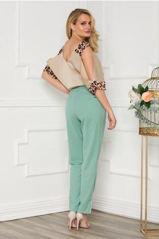 Pantaloni Daniela verzi cu dunga pe laterale si curea in talie