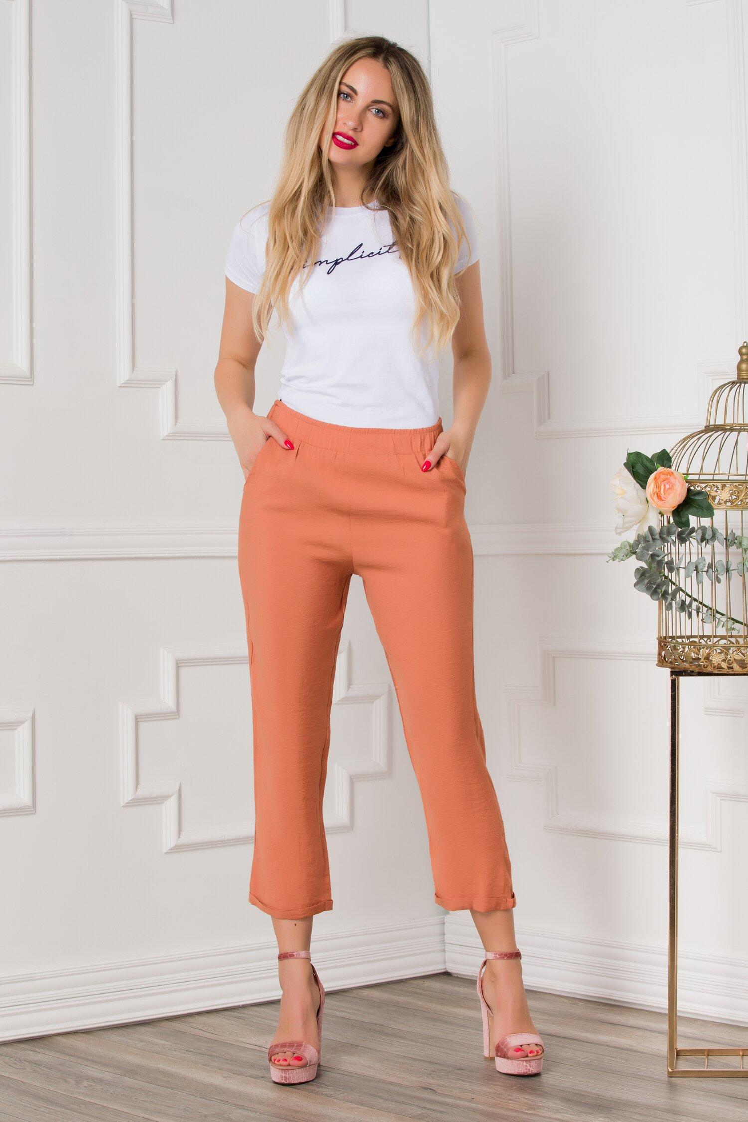 Pantaloni Dasy orange cu croi lejer