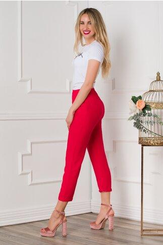 Pantaloni Dasy rosii cu croi lejer