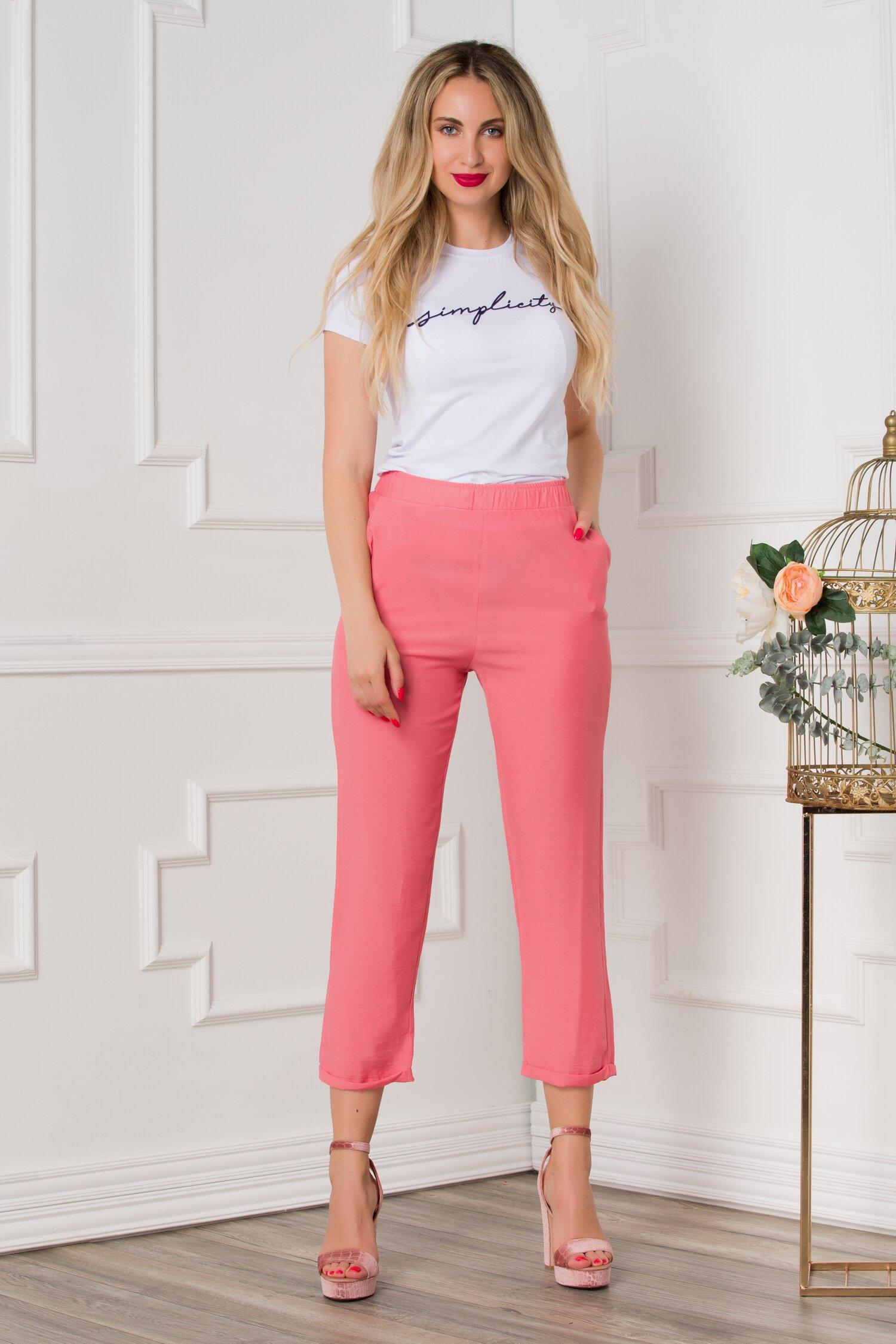Pantaloni Dasy roz-somon cu croi lejer
