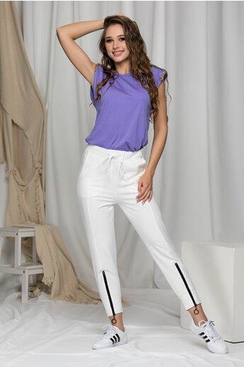 Pantaloni de trening Cristina albi cu dunga
