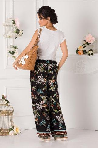 Pantaloni Debby negri vaporosi cu imprimeu divers