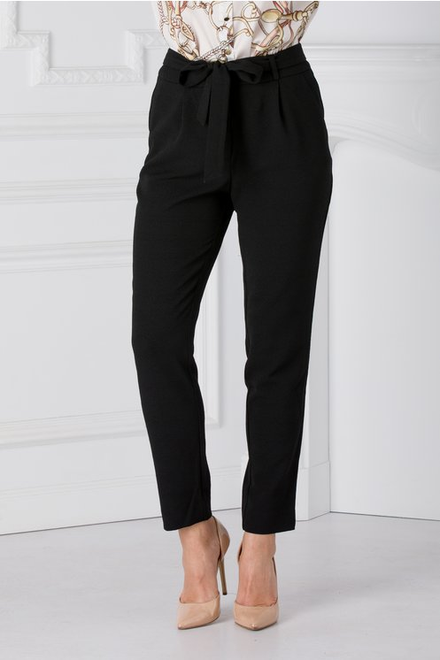 Pantaloni Debora negri office cu cordon in talie
