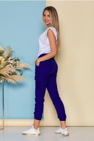Pantaloni Deea albastri casual cu buzunare laterale