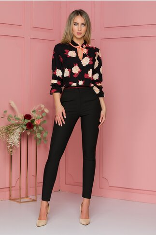 Pantaloni Denisa negri cu dungi cu sclipici rosu