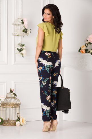 Pantaloni Denny vaporosi bleumarin cu imprimeu floral