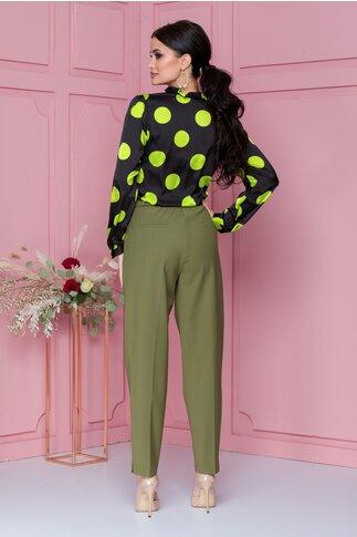 Pantaloni Deny kaki cu buzunare decorative
