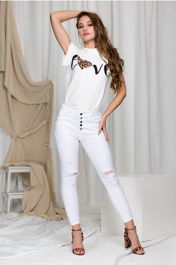 Pantaloni din denim albi cu nasturi si rupturi