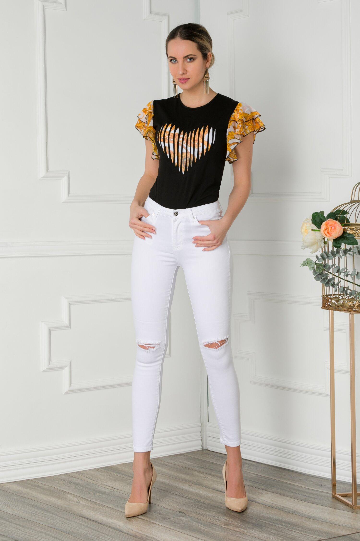 Pantaloni din denim albi cu rupturi
