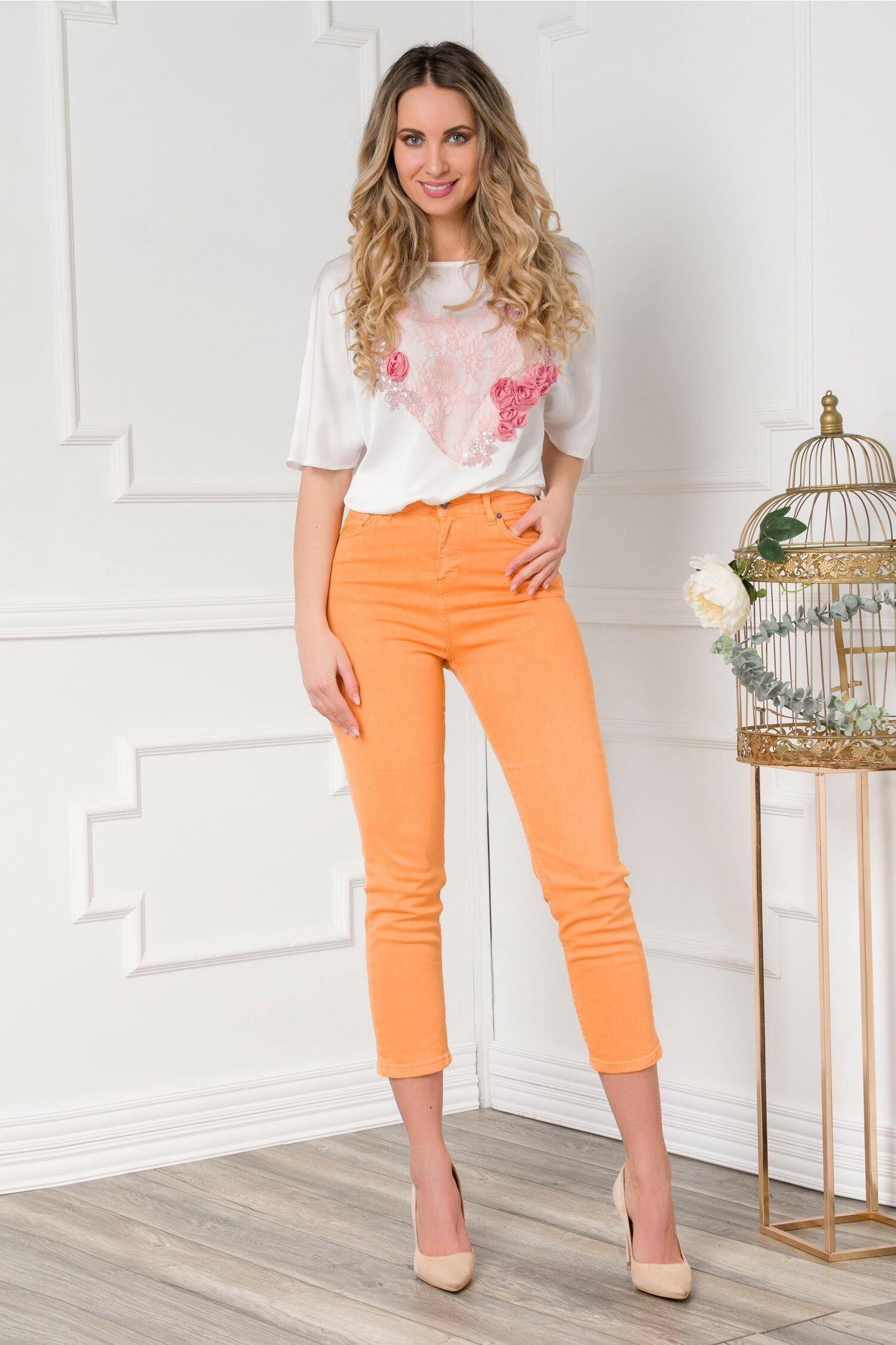 Pantaloni din denim orange