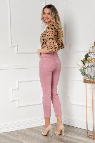 Pantaloni din denim roz prafuit