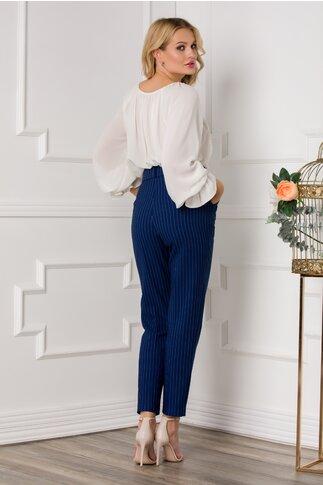 Pantaloni Dina albastri cu imprimeu in dungi fine