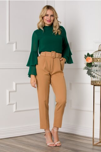 Pantaloni Dina crem cu dunga pe mijloc