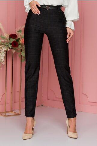 Pantaloni Dony negri cu imprimeu discret in carouri si curea in talie