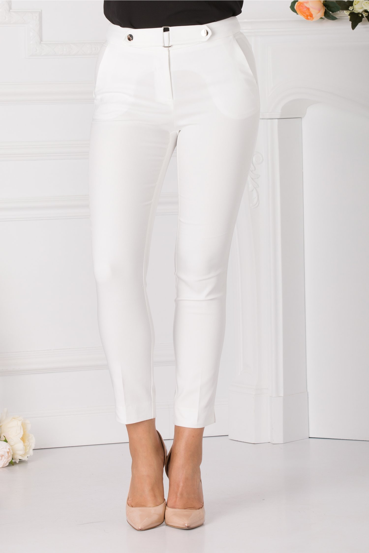 Pantaloni Dora albi office