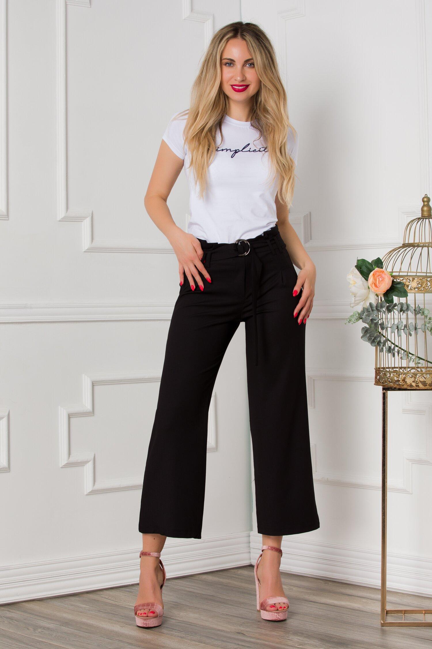 Pantaloni Doris negri cu cordon in talie